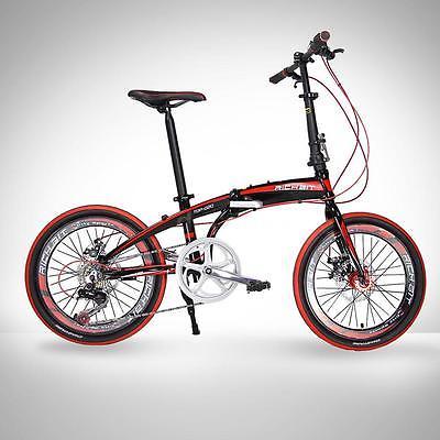 20-Folding-Bike-7-Speed-Bicycle-Fold-Storage-BLACK-School-Sports-Shimano-A55W-0-0