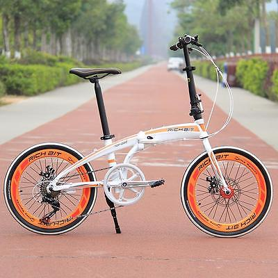 20-Folding-Bike-7-Speed-Bicycle-Fold-Storage-WHITE-School-Sports-Shimano-A5E5-0-0
