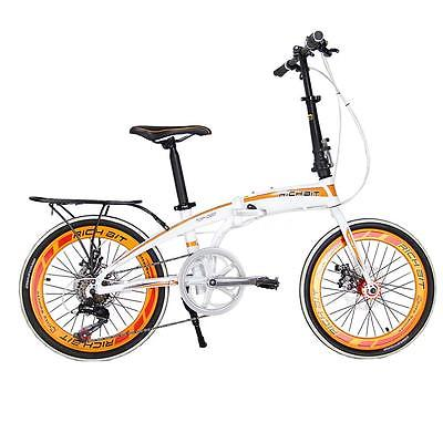 20-Folding-Bike-7-Speed-Bicycle-Fold-Storage-WHITE-School-Sports-Shimano-A5E5-0-1