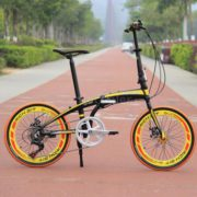 20-Folding-Bike-7-Speed-Bicycle-Fold-Storage-Yellow-School-Sports-Shimano-A5YV-0