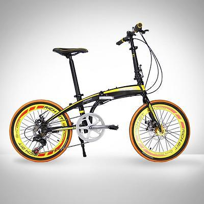 20-Folding-Bike-7-Speed-Bicycle-Fold-Storage-Yellow-School-Sports-Shimano-A5YV-0-3