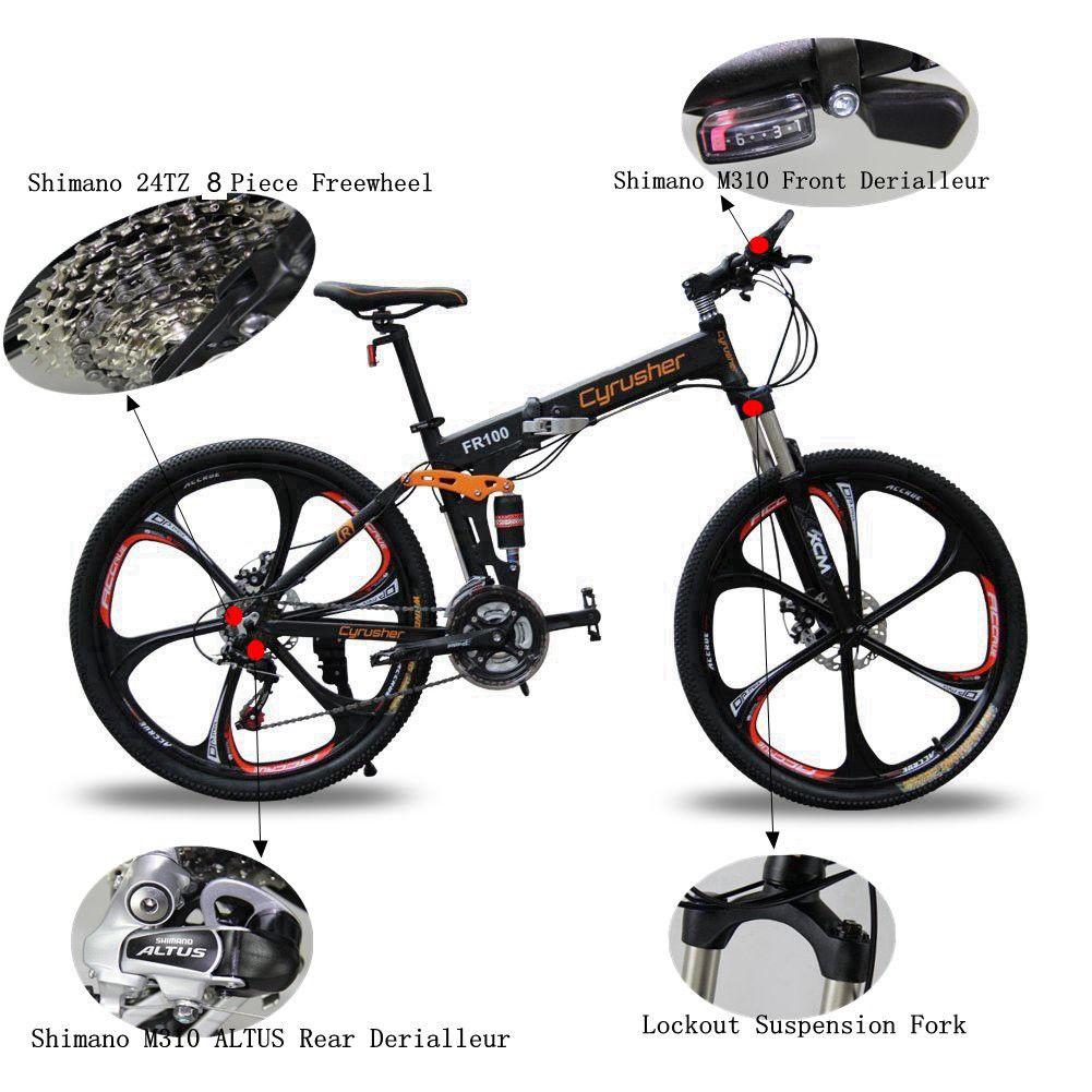 eeec67f1f39 Cyrusher Folding MTB Mountain Bike Full Suspension 24 Speed 17X26in ...