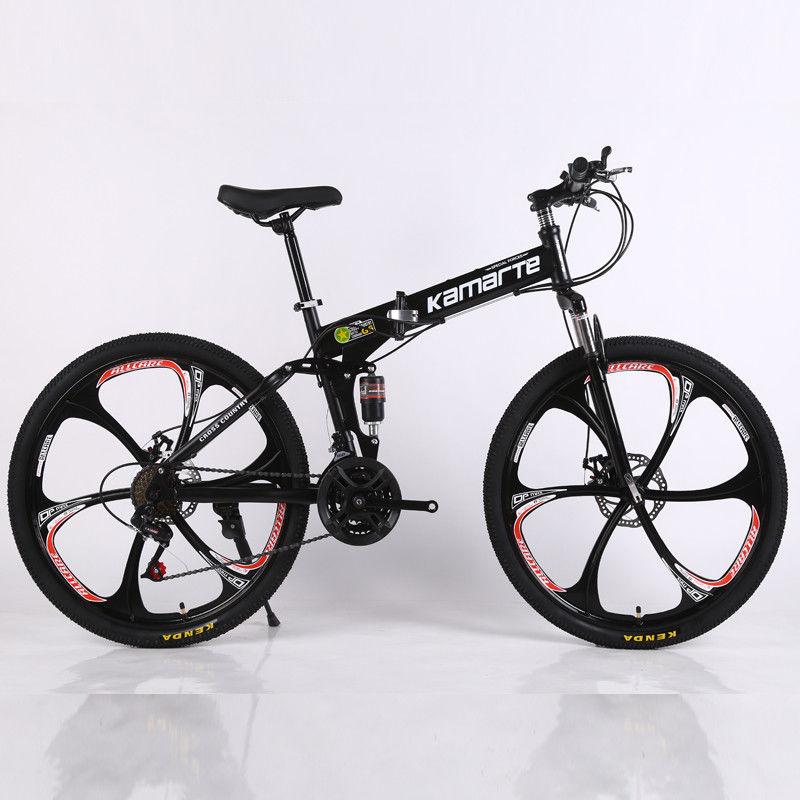 Folding Mountain Bike 21 Speed Double Disc Brakes Bicycle 6 knife ...