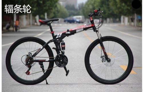 Folding-Mountain-Bike-MenWomen-26-21-Speed-Damping-Off-road-Dual-Disc-Brakes-0
