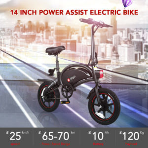 DYU Adults 14Inch Folding Bike Power Assist Electric Bicycle Moped E-bike 25km/h