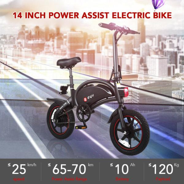 DYU Adults 14Inch Folding Bike Power Assist Electric Bicycle Moped E-bike 25km/h