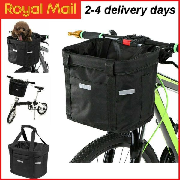 Bicycle Basket Folding Bike Front Handlebar Pet Carrier Frame Shopping Bag UK