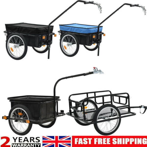 Folding Bicycle Cargo Storage Bike Trailer Enclosed Cart Removable Cover Hitch
