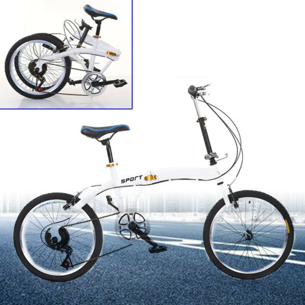 20'' Folding Bicycle Carbon Steel 7-speed Cycling Adult Bike Front & Rear Brake