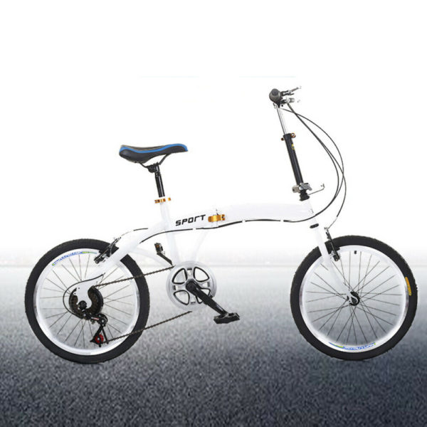 Unisex 20 Inch 7-Speed Folding Bike Double V Brakes for Camping & Travel White