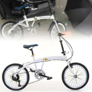 White 20 Inch Folding Bike Carbon Steel Folding Bike 7 Speed Bike Double V Brake