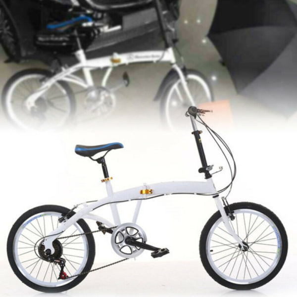 White 20 Inch Folding Bike Carbon Steel Folding Bike 7 Speed Bike Double V Brake