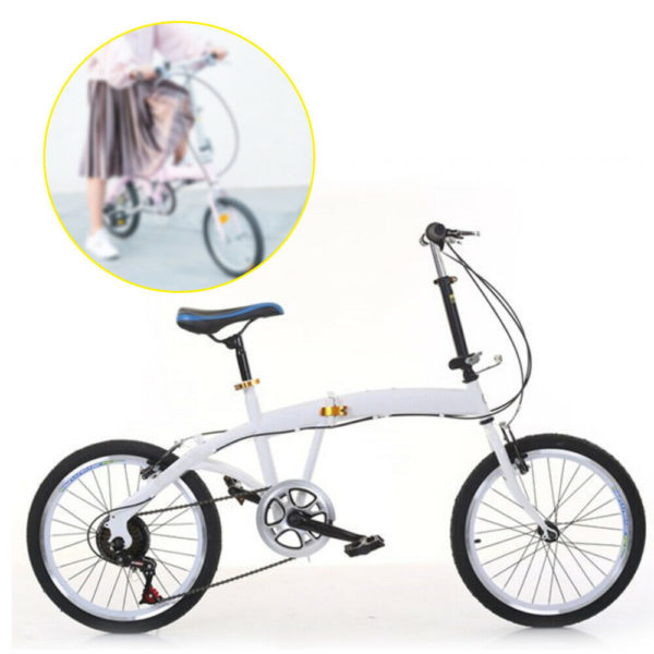 "20"" 7Speed 44T Gear Folding Bike Double V Brake Carbon Steel Folding Bike White"
