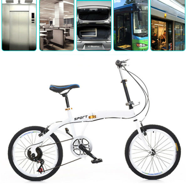 "20"" White 7 Gear Speed Folding Bike Double V Brake Adult Bike Alloyed Steel"