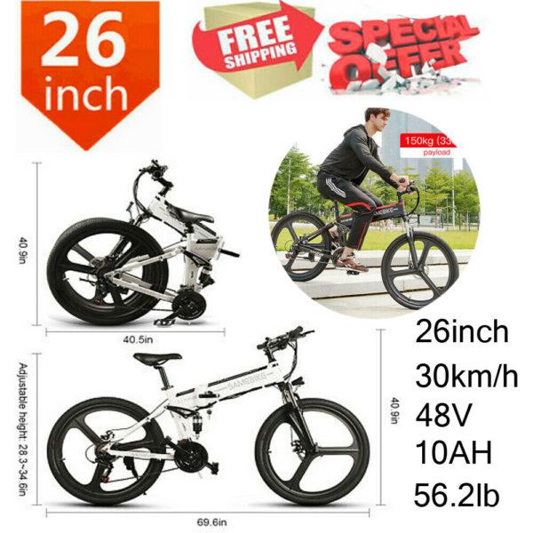 SAMEBIKE Folding Bikes Electric Mountain Bike 26Inch E-bike City Bicycle Cycling