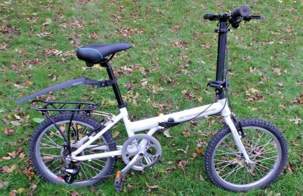 carrera transport 8 speed folding bicycle - bike + bell seat & mudguard V.G.C.
