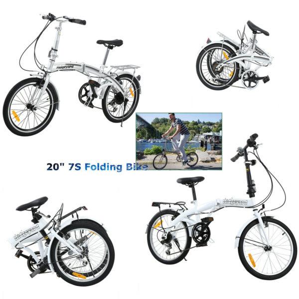 20''Unisex Folding Bike Bicycle in Silver/White 7 Speed City Bike Ridgeyard Xmas