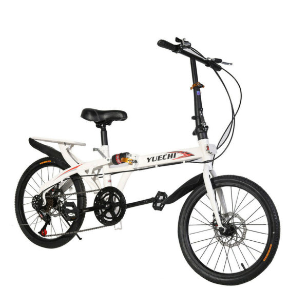 "20"" Lightweight Alloy Folding Bike City Riding Bicycle 7 Speeds w/Rear Rack Unis"