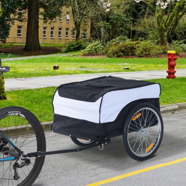 HOMCOM Folding Bicycle Storage Carrier Bike Trailer Cargo  w/Hitch White & Black