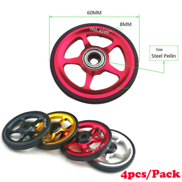 4x Alloy Folding Bike Easy Wheel Bicycle Walking EZ Wheels Refit for Brompton