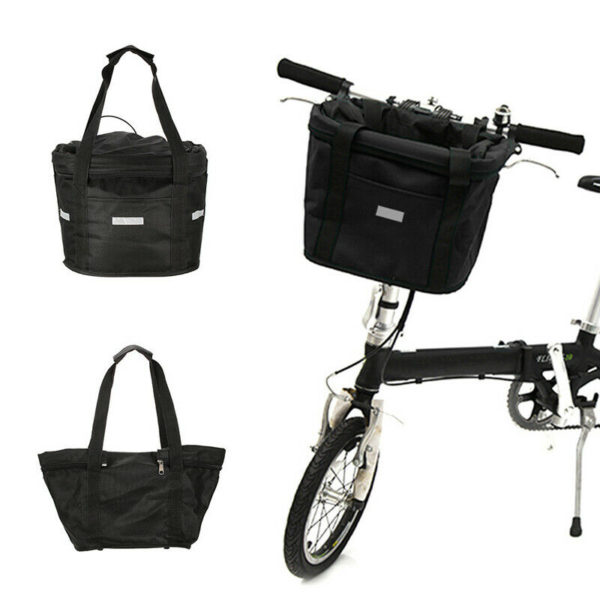 Bicycle Basket Folding Bike Front Handlebar Pet Carrier Frame Bag Shopping Bag/