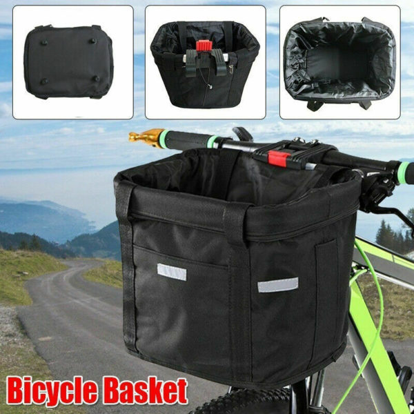 Bicycle Basket Folding Bike Front Handlebar Pet Carrier Frame Bag Shopping Bag