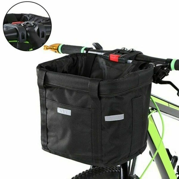 Bicycle Basket Folding Bike Front Handlebar Pet Carrier Frame Bag Shopping Bag,