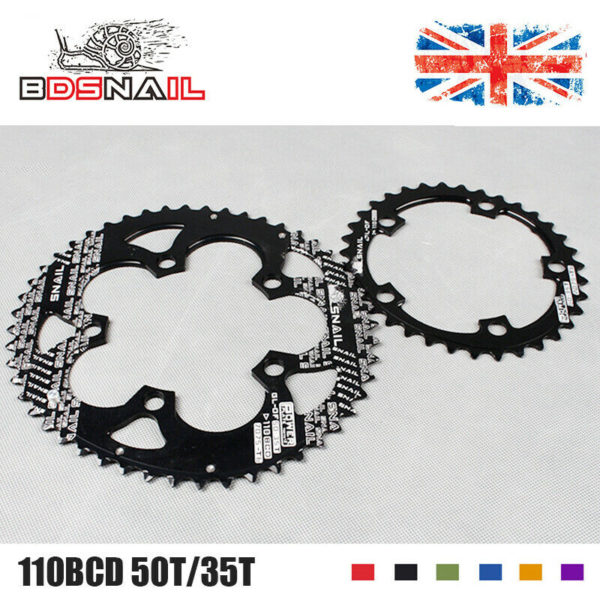 SNAIL Double Oval 110BCD 50/35T Chainring Road/Folding Bike Chainwheel Screws UK