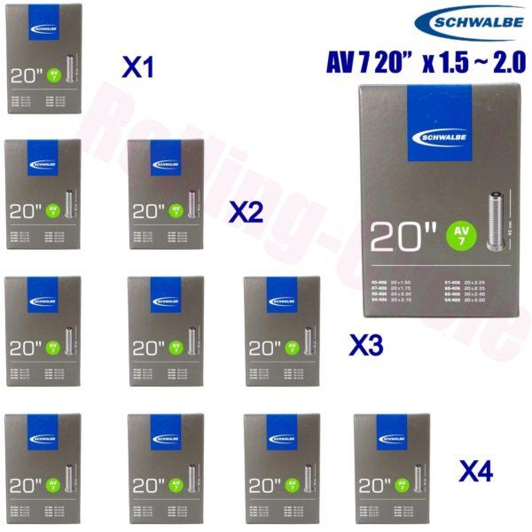 """1pack - 4pack Schwalbe Tubes 406/428 AV7 20""""x1.5-2.0 Schrader BMX Folding Bike"""