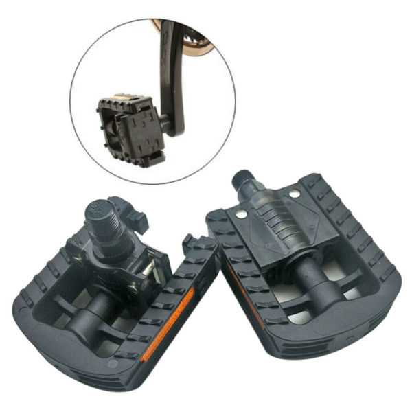 """Double Folding Bike Pedals Folders Cycle Commuting Bicycle Pedals 9/16"""" Black"""