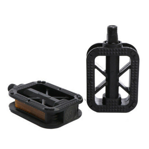 Black Plastic Bicycle Pedals 2 Pieces Set For Ordinary Bicycle Folding Bike