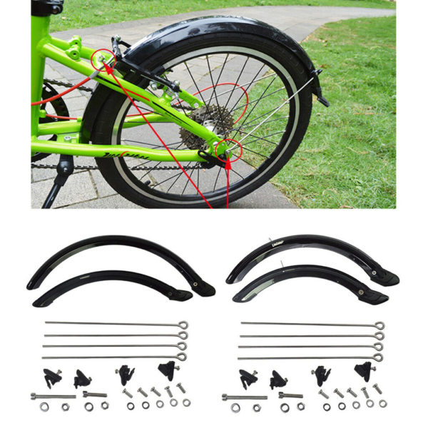 20/14inch Folding Bike Mudguard Front & Rear Bicycles Cycle Mud Guard Set