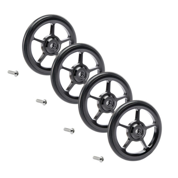 4pc Alloy Bike Easy Wheels 6cm Folding Bicycle Easywheel for Brompton Black