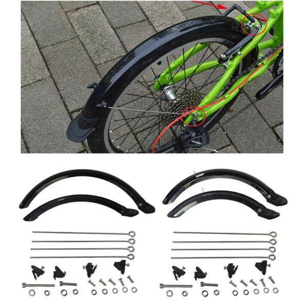 20/14in Folding Bike Mudguard Front Rear  Cycle V-Brake Mud Guard Replace