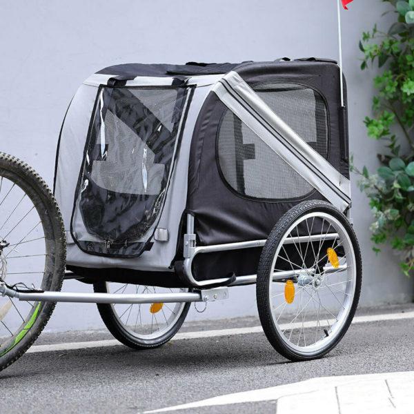 Grey Child Pet Stroller Dog Jogger Folding Bike Cargo Trailer Carrier Bicycle