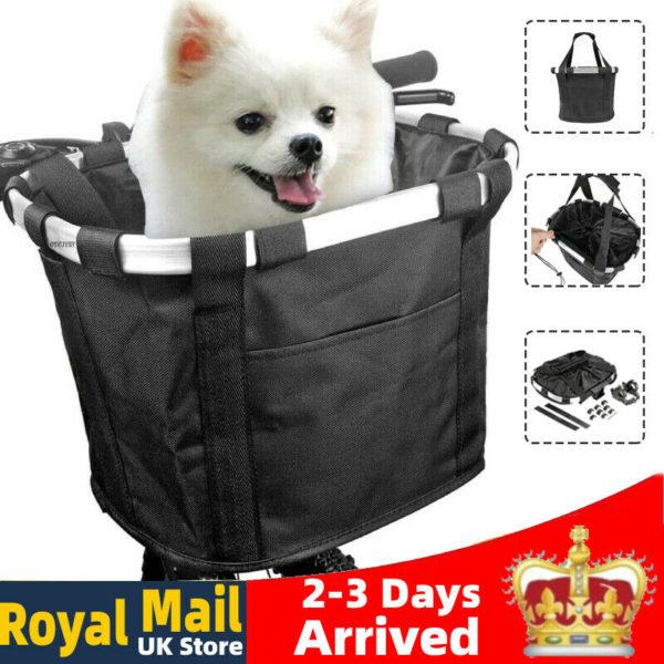 Bicycle Basket Folding Bike Front Handlebar Dog Carrier Frame Bag Shopping Bag