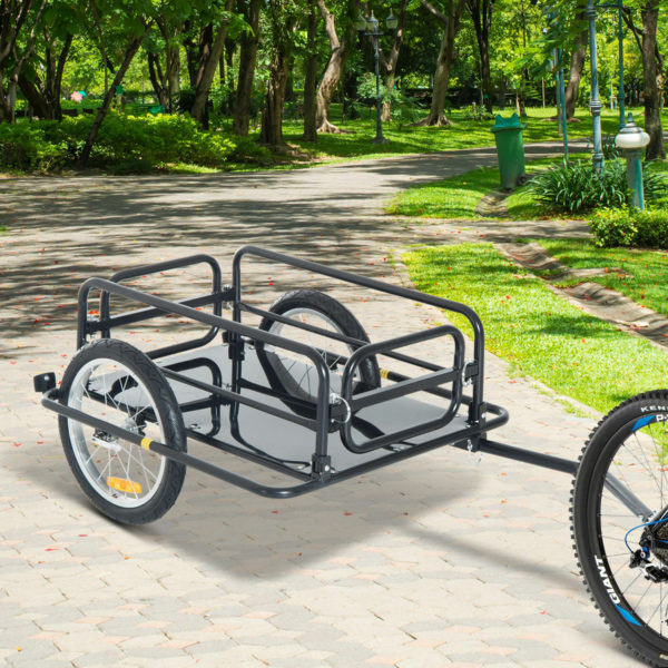 HOMCOM Folding Bicycle Cargo Trailer for Shop Luggage Storage Utility with Hitch