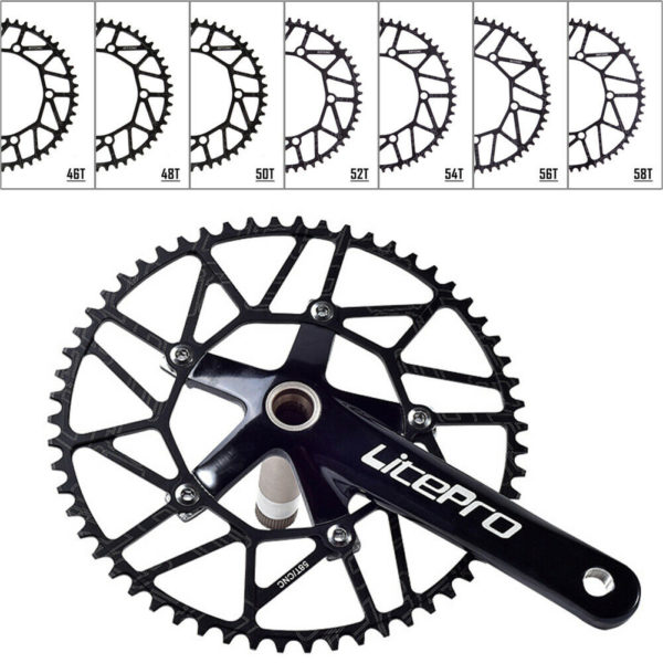 Folding Bike Chainring BCD130mm 5 Bolts Narrow-Wide Chainweel 46-58T Black