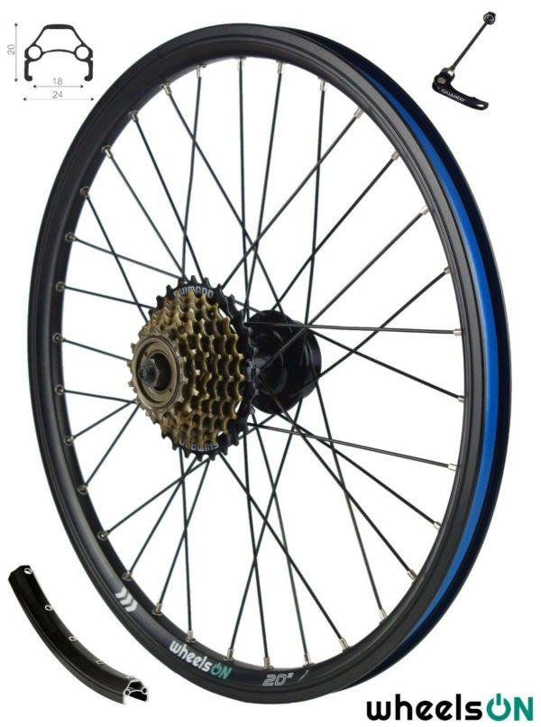 20 inch QR wheelsON Rear Wheel + 7 spd Shimano Freewheel Folding Bike Disc Black