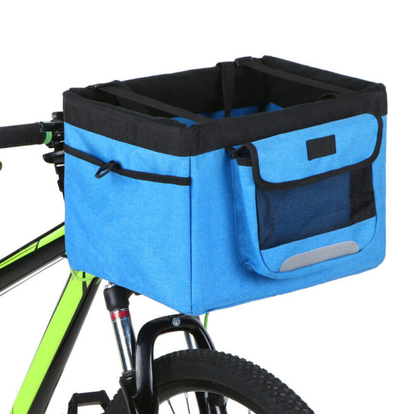 Bicycle Basket Folding Bike Front Handlebar Pet Carrier Bag Shopping Bag UK L5E8