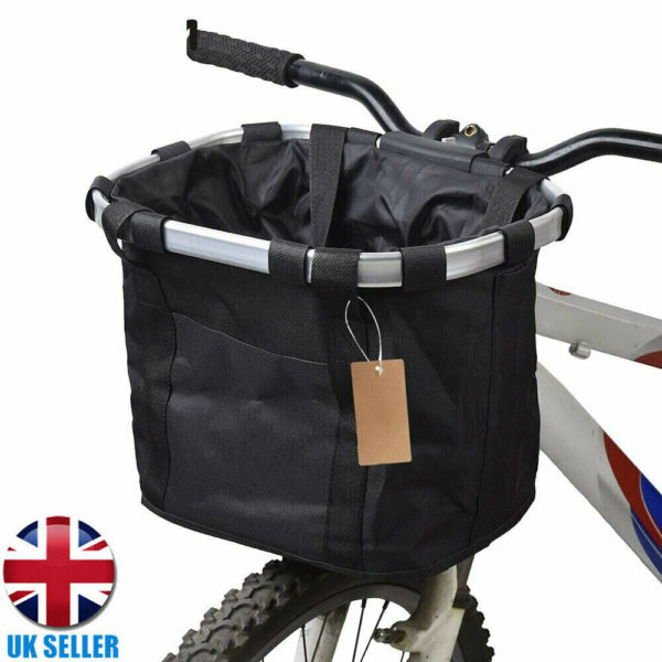 Bicycle Basket Folding Bike Front Handlebar Pet Carrier Frame Shopping Bag Pouch