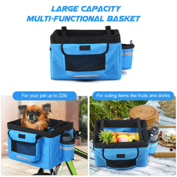 2X Bicycle Basket Folding Bike Front Handlebar Pet Carrier Bag Shopping Bag S6H0