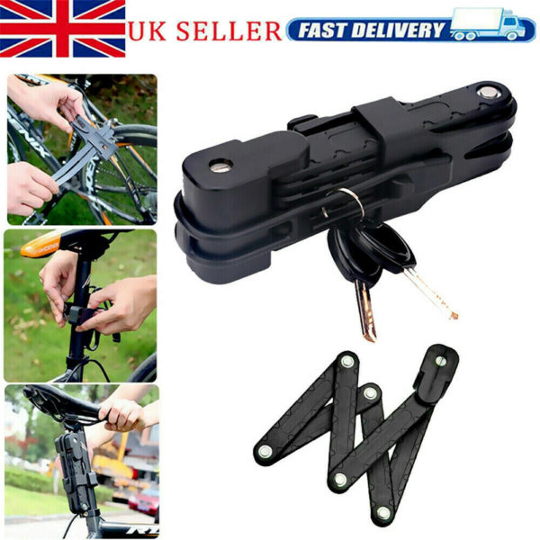 Folding Bicycle Lock Steel Bike Security Cable Lock Anti-Theft for MTB Road Bike