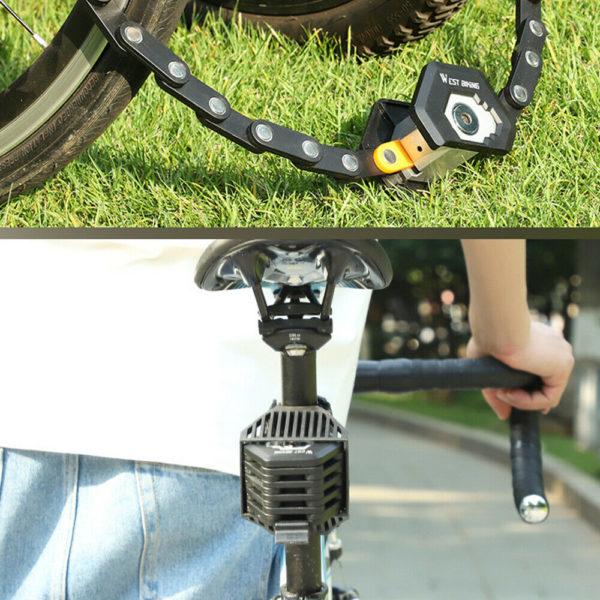 WEST BIKING Alloy Steel Folding Bike Lock Bicycle Chain Lock with 3 Keys B4F1