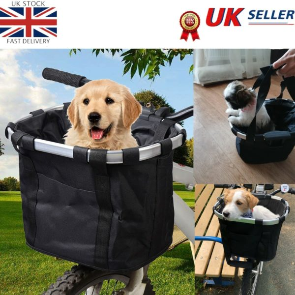 Bicycle Basket Folding Bike Front Handlebar Dog Carrier Frame Shopping Bag Y5P2
