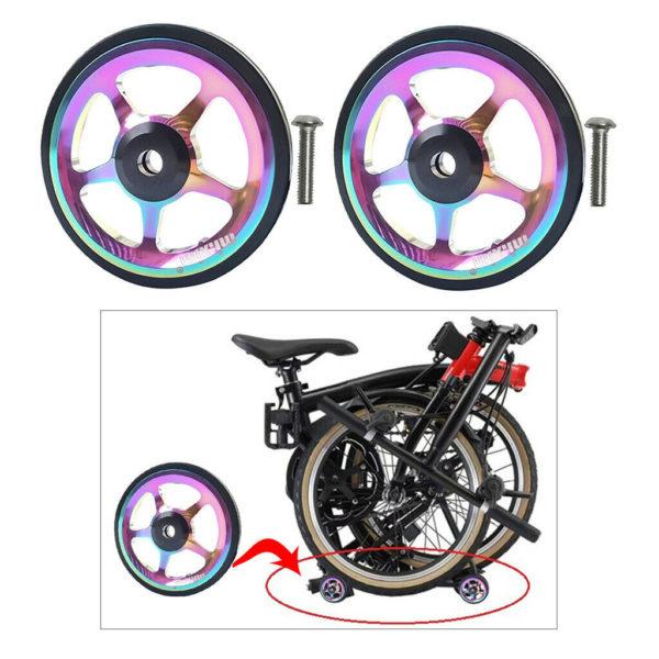 2 Pieces Alloy Folding Bike Easy Wheel 6CM Easy Wheel Walking For Brompton