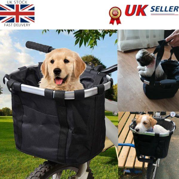 Bicycle Basket Folding Bike Front Handlebar Pet Carrier Bag Shopping Bag UK J1O6