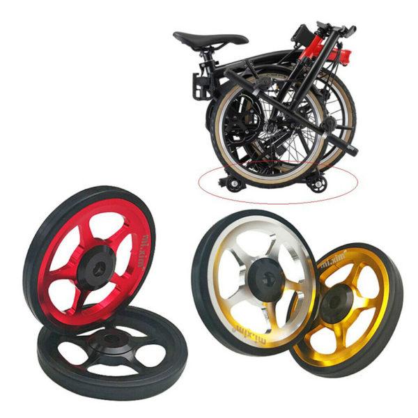 2x Folding Bike Easy Wheels Bicycle Refit Easy for Brompton Transport Pushing