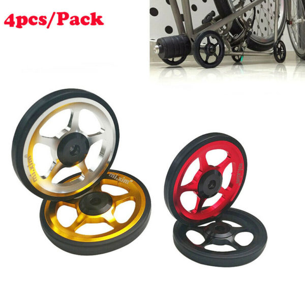 4Pcs Premium Folding Bike Easy Wheel Bicycle EZ Wheels with Bolt for Brompton