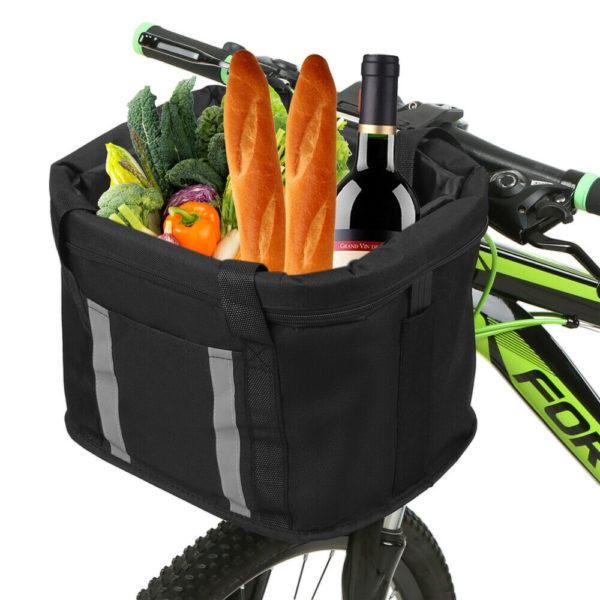 Folding Bike Basket with Reflective Strips Detachable Handlebar Front L0O5